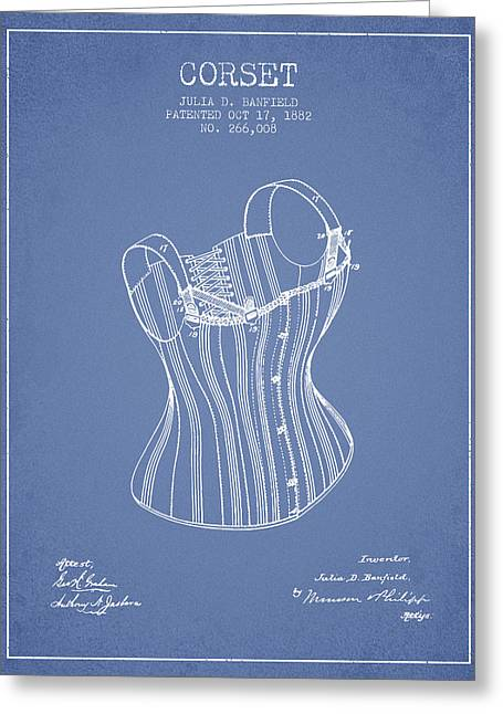 Corset Dress Greeting Cards - Corset patent from 1882 - Light Blue Greeting Card by Aged Pixel