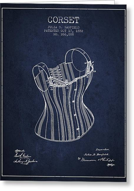 Corset Dress Greeting Cards - Corset patent from 1882 - Navy Blue Greeting Card by Aged Pixel