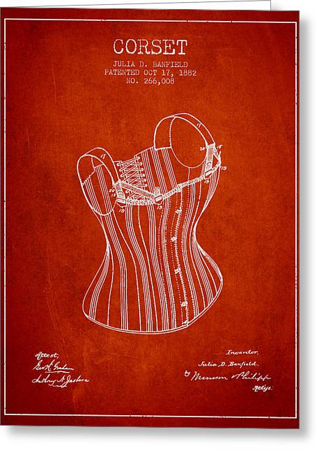 Corset Dress Greeting Cards - Corset patent from 1882 - Red Greeting Card by Aged Pixel