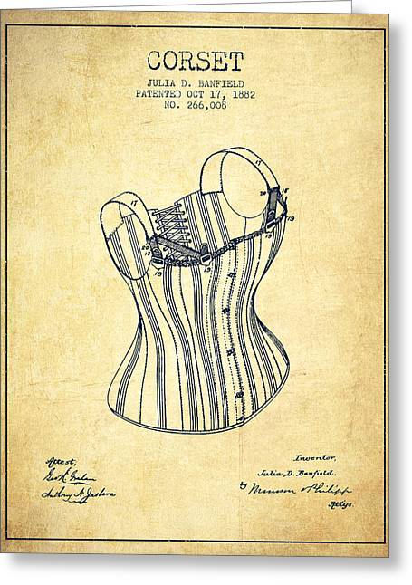 Corset Dress Greeting Cards - Corset patent from 1882 - Vintage Greeting Card by Aged Pixel