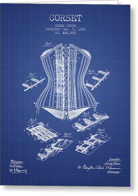 Corset Dress Greeting Cards - Corset patent from 1890 - Blueprint Greeting Card by Aged Pixel