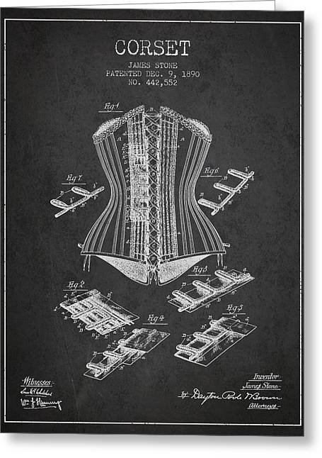 Corset Dress Greeting Cards - Corset patent from 1890 - Dark Greeting Card by Aged Pixel