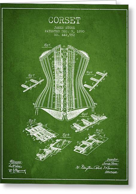 Corset Dress Greeting Cards - Corset patent from 1890 - Green Greeting Card by Aged Pixel