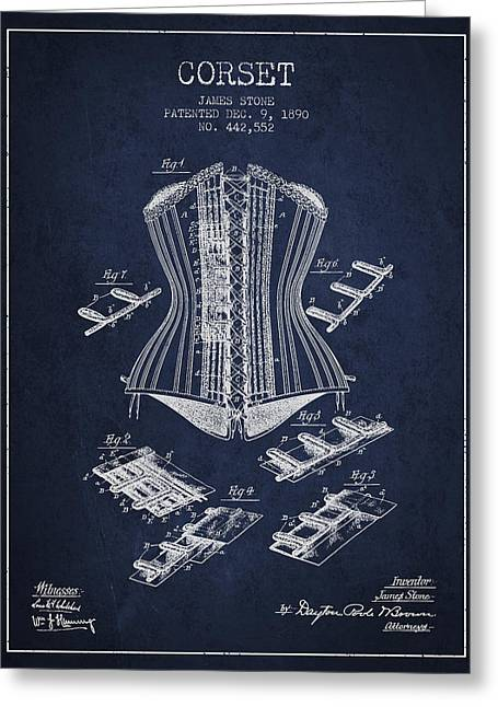 Corset Dress Greeting Cards - Corset patent from 1890 - Navy Blue Greeting Card by Aged Pixel