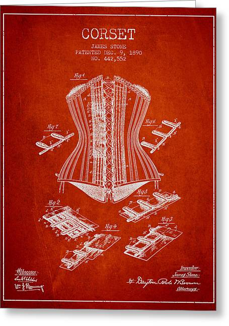 Corset Dress Greeting Cards - Corset patent from 1890 - Red Greeting Card by Aged Pixel
