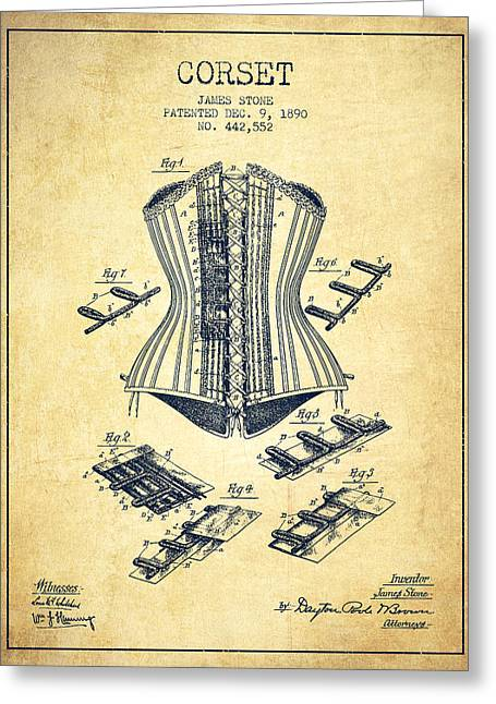 Corset Dress Greeting Cards - Corset patent from 1890 - Vintage Greeting Card by Aged Pixel