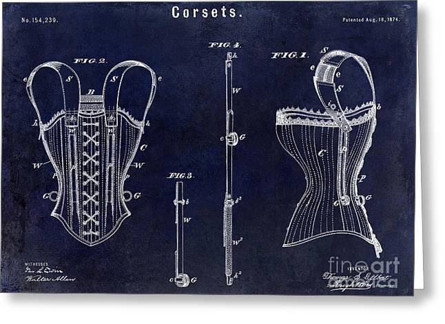 Corset Greeting Cards - 1874 Corsets Patent Blue Greeting Card by Jon Neidert