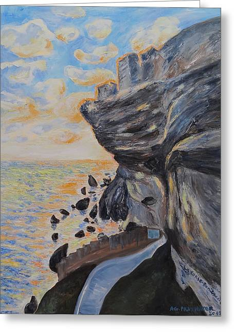 The Houses Greeting Cards - Corsica Bonifaccio Rock Greeting Card by Agnieszka Praxmayer