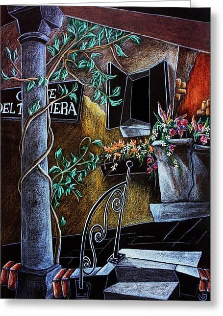 Garden Art Pastels Greeting Cards - CoRte Del TAgLiaPieTRa - Venise Dessin Crayon de Couleur Greeting Card by Arte Venezia