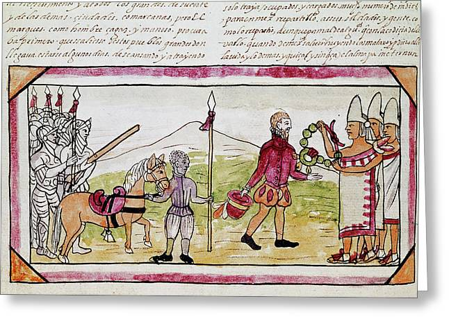 Cortes And Tlaxcalans Greeting Card by Granger