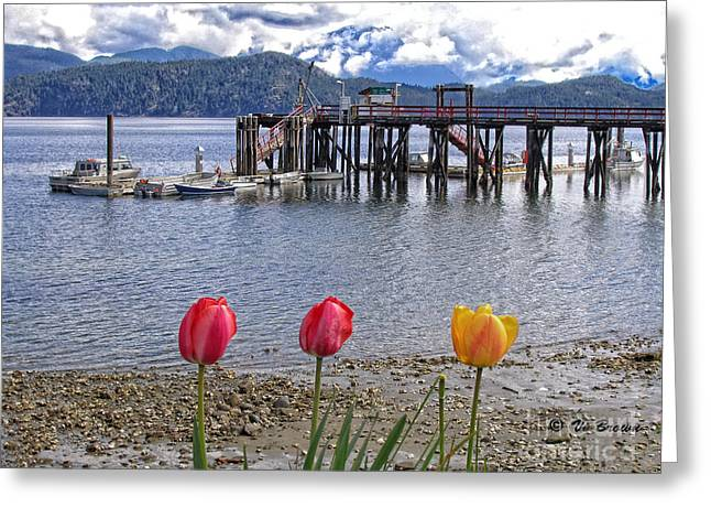 Boats At The Dock Greeting Cards - Cortes Island Dock Greeting Card by Vi Brown