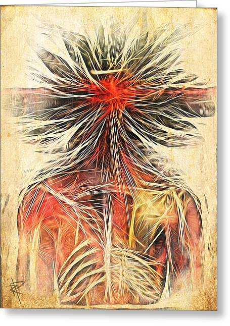 Bizarre Mixed Media Greeting Cards - Cortex Man Greeting Card by Russell Pierce