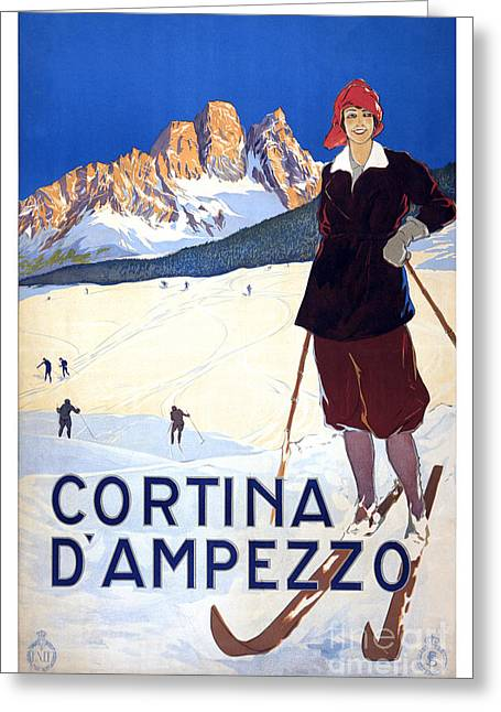 Skiing Poster Greeting Cards - Cortina dAmpezzo - travel poster for ENIT - 1920 Greeting Card by Pablo Romero