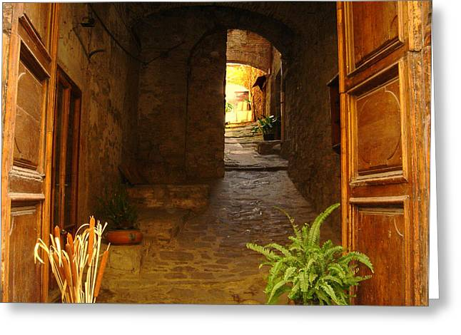 Recently Sold -  - Stepping Stones Greeting Cards - Cortona Greeting Card by Deborah Jahier