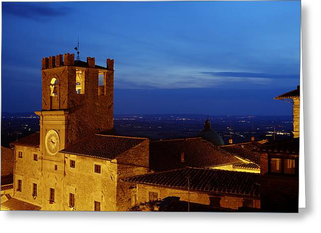 Hilltown Greeting Cards - Cortona Tuscany dusk Greeting Card by Al Hurley