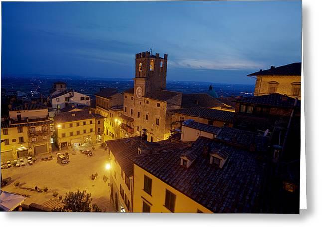 Tuscan Sunset Greeting Cards - Cortona Tuscany dusk Greeting Card by Al Hurley
