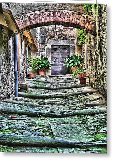 Tuscan Hills Digital Art Greeting Cards - Cortona Passageway Greeting Card by Greg Matchick