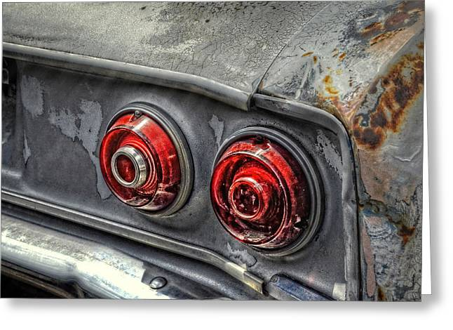 Chevrolet Trunk Greeting Cards - Corvair Tail Lights Greeting Card by Ken Smith