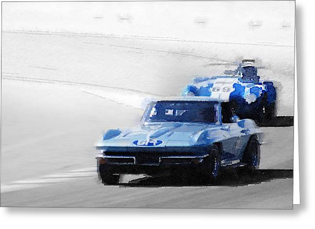 Corvette And Ac Cobra Shelby Watercolor Greeting Card by Naxart Studio