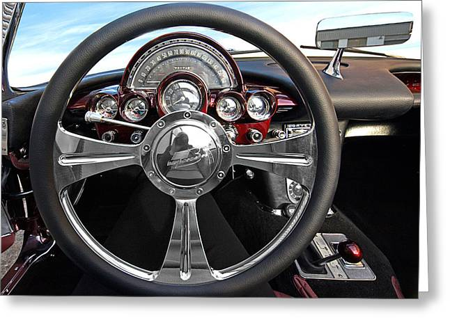 Speedometer Greeting Cards - Corvette C1 - In The Drivers Seat Greeting Card by Gill Billington