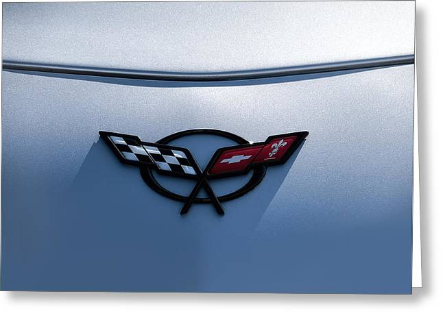 Chevrolet Greeting Cards - Corvette C5 Badge Greeting Card by Douglas Pittman
