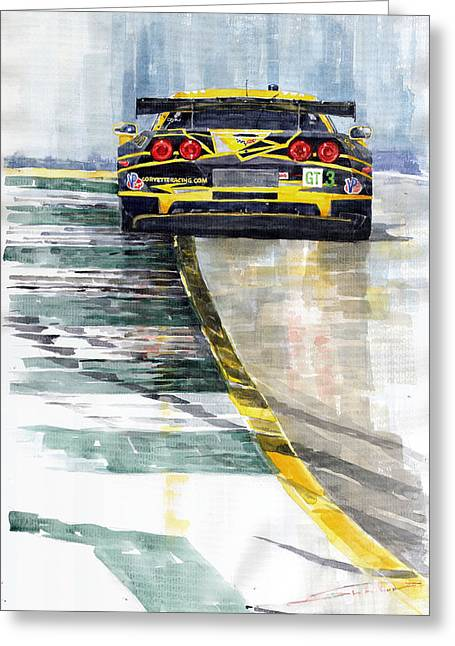 Watercolor! Art Greeting Cards - Corvette C6 Greeting Card by Yuriy Shevchuk