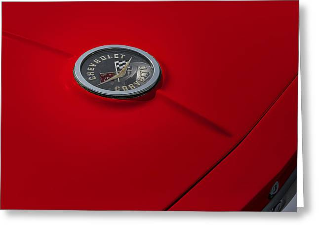 Chevrolet Trunk Greeting Cards - Corvette Chevy Antique Greeting Card by Susan Candelario