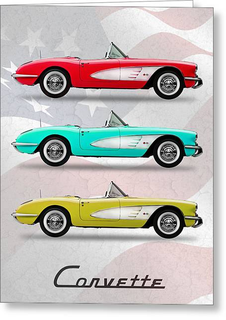 Chevrolet Greeting Cards - Corvette Collection Greeting Card by Mark Rogan