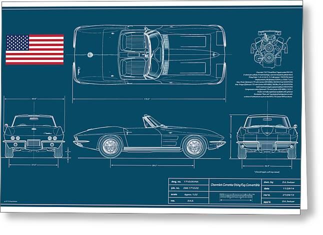 Metal Prints Drawings Greeting Cards - Corvette Convertible Blueplanprint Greeting Card by Douglas Switzer