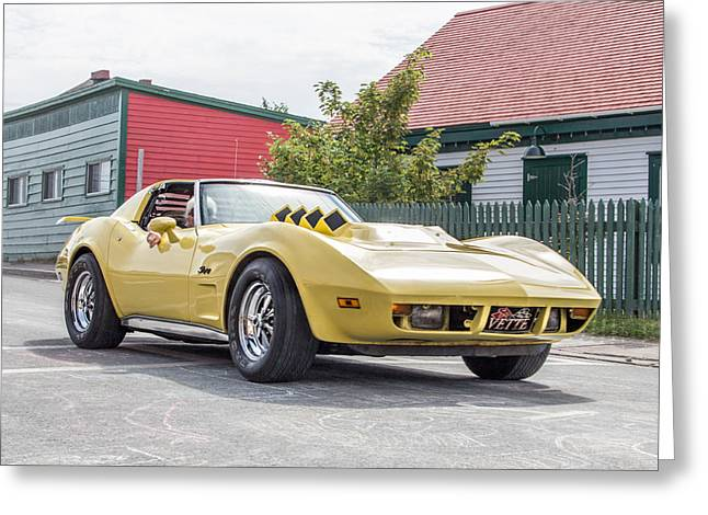 Subcompact Greeting Cards - Corvette Greeting Card by Crystal Fudge