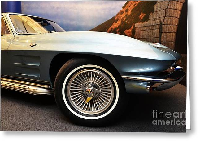 Hubcap Greeting Cards - Corvette Curves Greeting Card by Mel Steinhauer