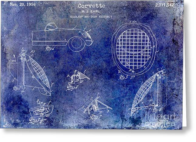 Headlight Greeting Cards - Corvette Headlight Patent Greeting Card by Jon Neidert