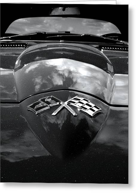 Bill Gallagher Photography Greeting Cards - Corvette in Black and White Greeting Card by Bill Gallagher