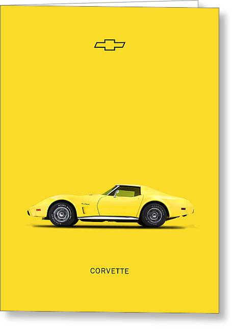 Corvette Greeting Cards - Corvette In Yellow Greeting Card by Mark Rogan