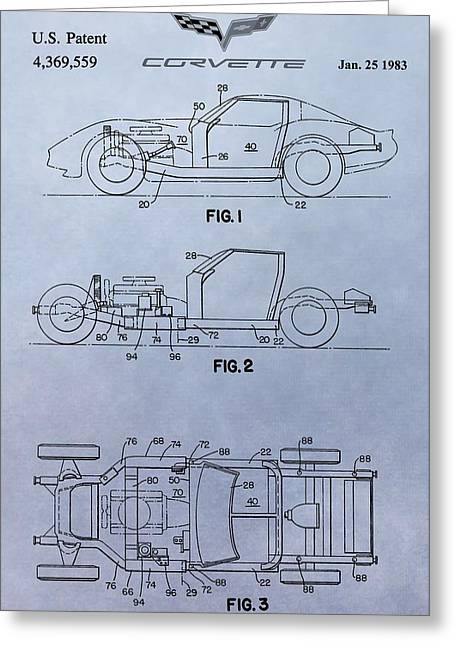 1983 Greeting Cards - Corvette Patent Greeting Card by Dan Sproul