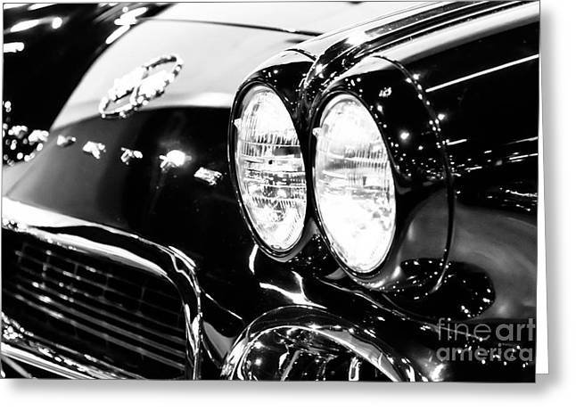 Front Greeting Cards - Corvette Picture - Black and White C1 First Generation Greeting Card by Paul Velgos