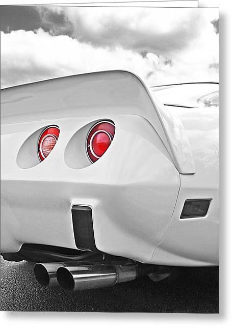 Big Block Chevy Greeting Cards - Corvette Rear Lights Greeting Card by Gill Billington