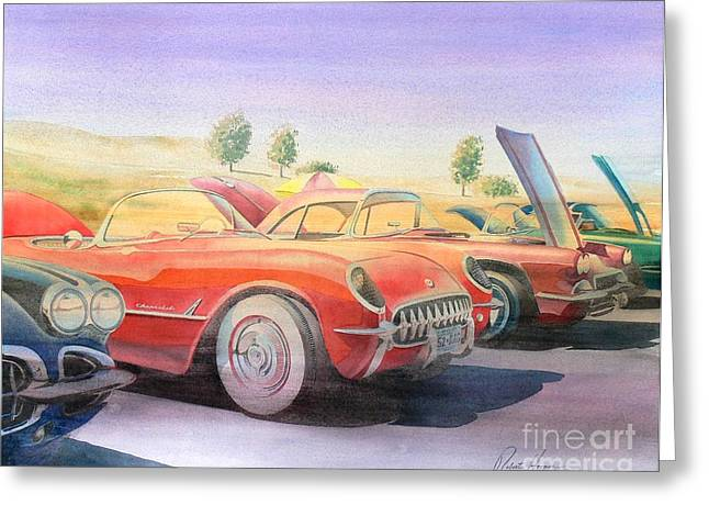 Sonoma Greeting Cards - Corvette Show Greeting Card by Robert Hooper