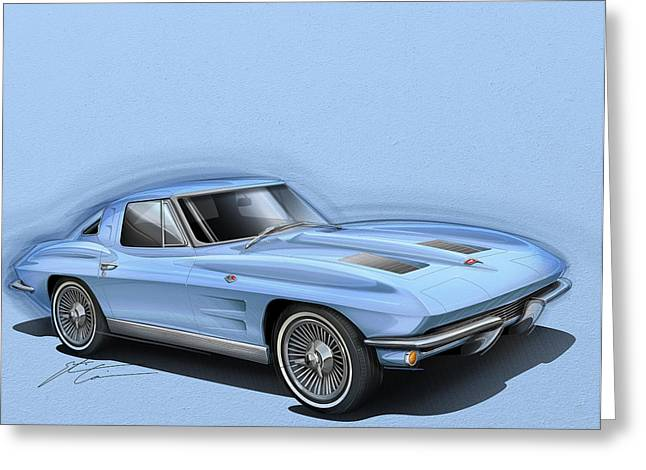 Stinging Greeting Cards - Corvette Sting Ray 1963 light blue Greeting Card by Etienne Carignan
