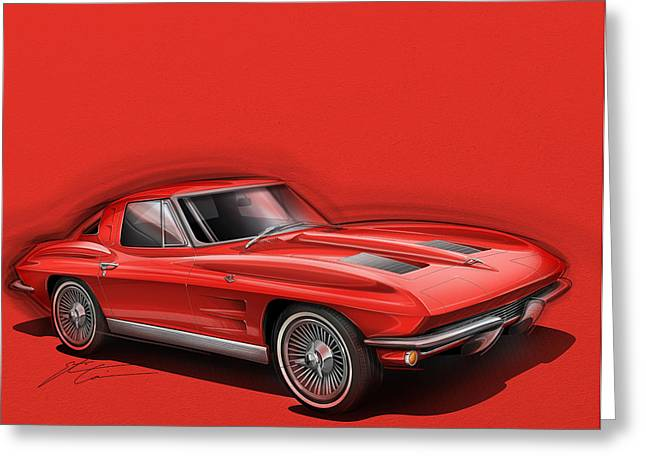 Stinging Greeting Cards - Corvette Sting Ray 1963 red Greeting Card by Etienne Carignan