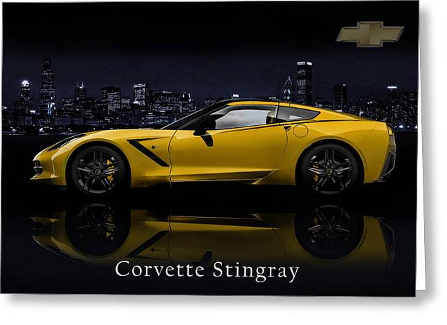 Muscles Greeting Cards - Corvette Stingray Greeting Card by Mark Rogan