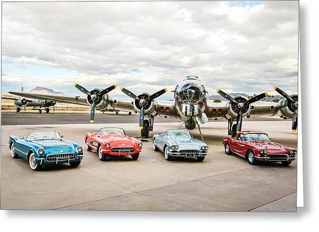 Corvettes And B17 Bomber Greeting Card by Jill Reger