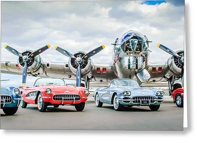 Car Photographer Greeting Cards - Corvettes with B17 Bomber Greeting Card by Jill Reger