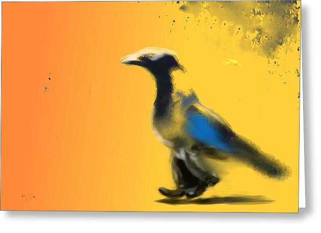 Corvus Out For A Walk Greeting Card by Marcello Cicchini