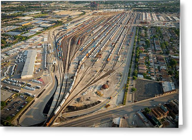 Facility Greeting Cards - Corwith Intermodal Rail Yard Chicago Greeting Card by Steve Gadomski