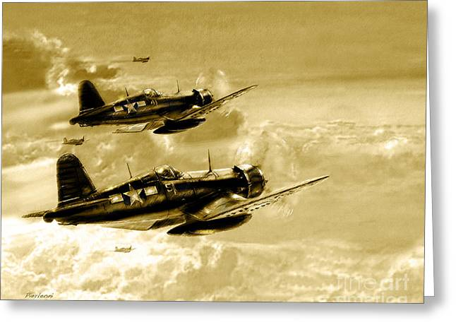 Airplane Pyrography Greeting Cards - Cosair Greeting Card by Tony Pierleoni
