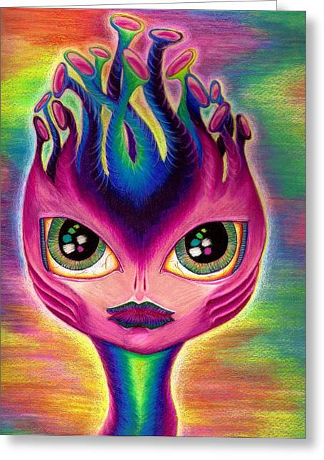 Tendrils Drawings Greeting Cards - Cosima the Alien Greeting Card by Nalinne Jones