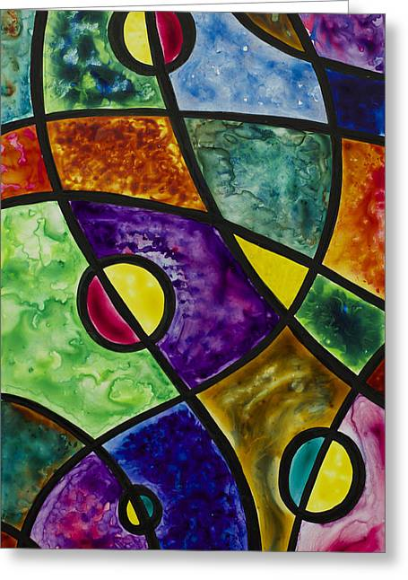 Planetary Mixed Media Greeting Cards - Cosmic Abstraction Greeting Card by Julie Myers