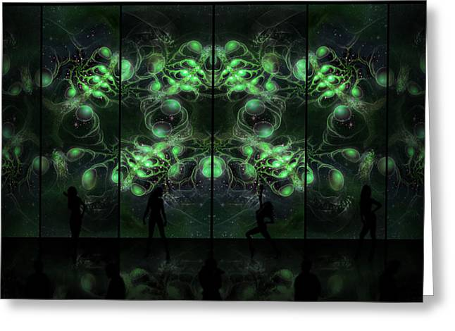 Fractal Art Greeting Cards - Cosmic Alien Vixens Green Greeting Card by Shawn Dall