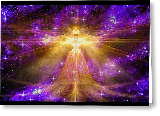 Angel Blues Greeting Cards - Cosmic Angel Greeting Card by Shawn Dall